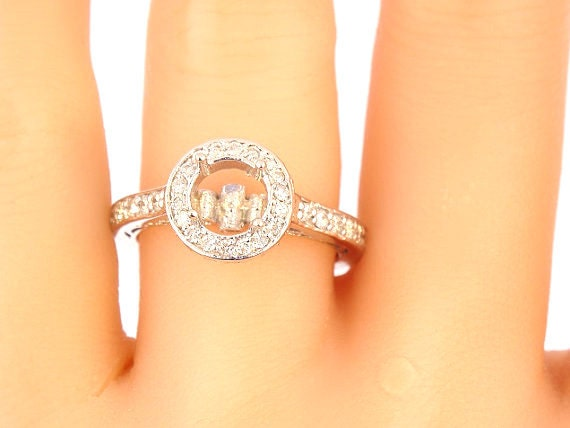14K White Gold Diamond Engagement Ring Art Deco Antique Deisgn Classic Halo Infinity Design Wedding Ring Yellow Gold Rose Gold