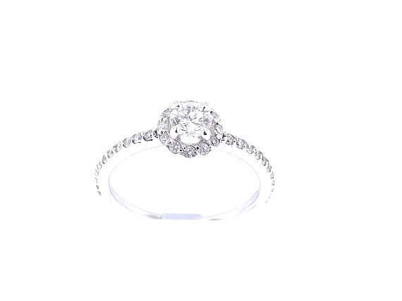 14K White Gold Diamond Halo Engagement Ring - SJ2252HRER