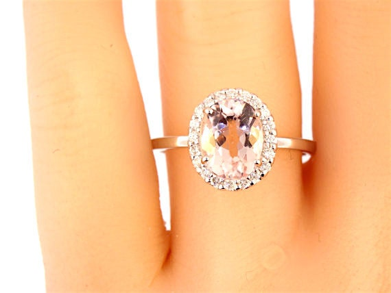 14K White Gold Oval Shape Morganite & Diamond Halo Engagement Ring Wedding Ring Anniversary Ring Art Deco Ring Antique Ring Yellow Rose Gold