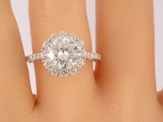 18K White Gold Diamond 8.5MM Forever Brilliant Moissanite Engagement Ring Wedding Ring Halo Ring Promise Ring Anniversary Ring Antique Ring