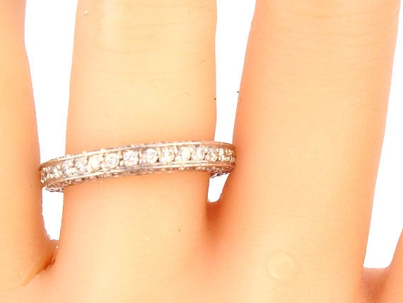 14K White Gold Pave Diamond Eternity Band Anniversary Band Wedding Band Promise Ring Stackable Ring Yellow Gold White Gold Platinum 18K -SJP