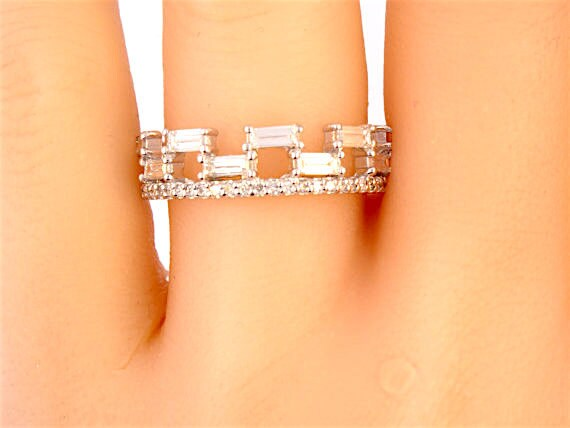 14K White Gold Diamond Baguette Band Wedding Band Anniversary Band Promise Ring Stackable Band Right Hand Ring Yellow Gold Rose Gold Antique