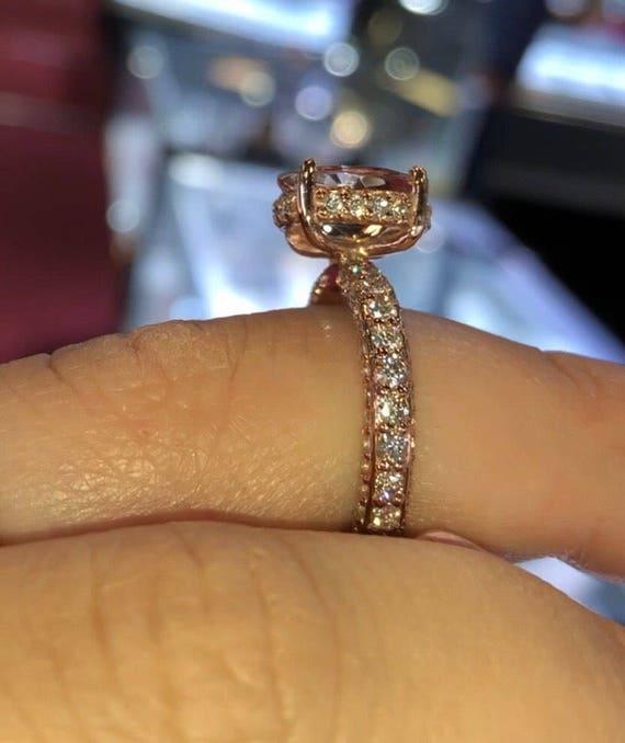 14 Karat Rose Gold Diamond Oval Shape Morganite Under Halo Wedding Ring Engagement Ring Promise Ring Anniversary Ring White Gold Yellow Gold