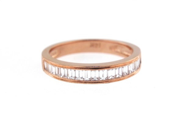 14K Rose Gold Art Deco Diamond Baguette Band Wedding Band Anniversary Band Antique Band Stackable Band Promise Band Yellow Gold White Gold