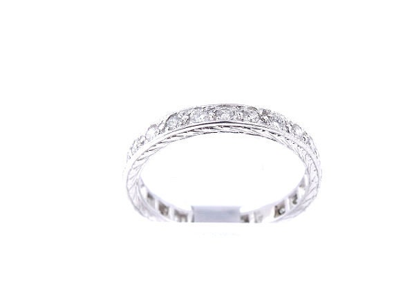 14K White Gold Antique Eternity Diamond Band Anniversary Band Art Deco Band Wedding Band Promise Band Stackable Band Yellow Gold Rose Gold