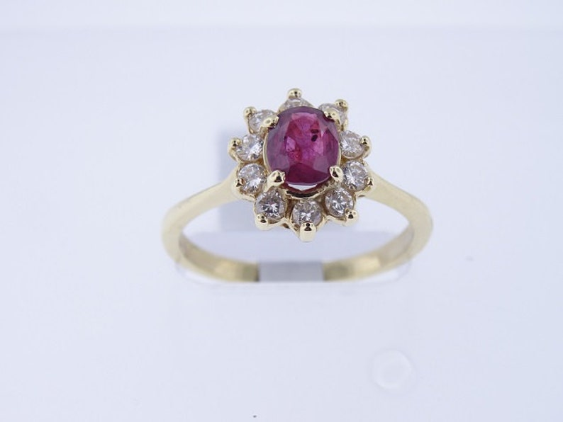 Natural Ruby and Diamond Ring Set in 14K Yellow Gold Art Deco image 0