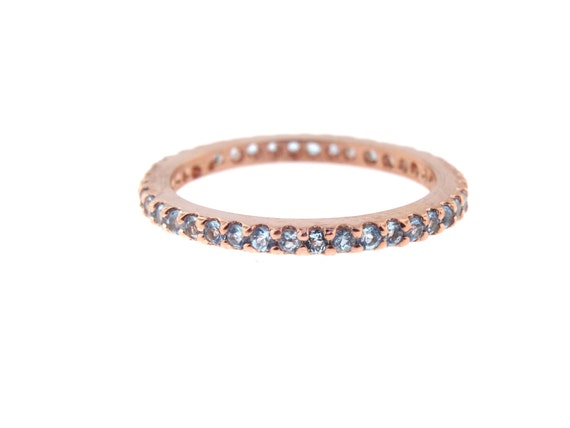 14K Rose Gold Full Eternity Natural Blue Topaz Prong Set Band Birthstone Band Stackable Band Promise Ring Anniversary Yellow Gold White Gold