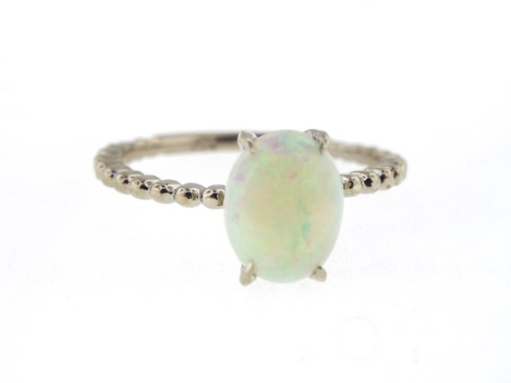 14K White Gold Oval Shape Opal Engagement Ring Anniversary Ring Art Deco Ring Solitaire Ring Antique Design Ring Yellow Gold Rose Gold 18K