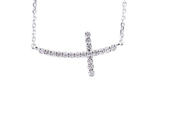 14K White Gold Floating Diamond Cross Pendant Prong Set Sideways Cross Necklace on Chain Yellow Gold Rose Gold