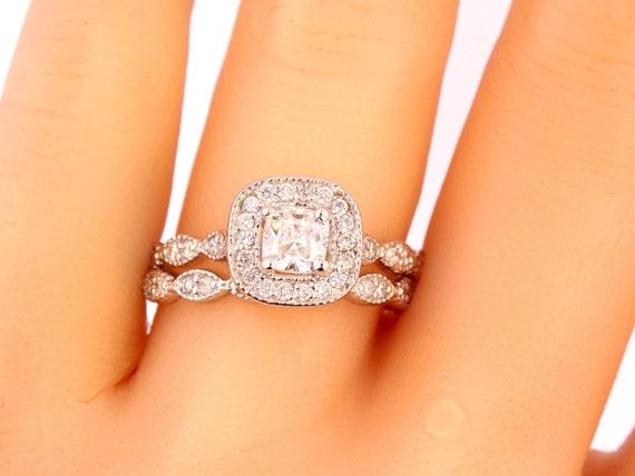 14K White Gold Cushion Cut Diamond Engagement Ring Wedding Ring Art Deco Ring Antique Ring Promise Ring Pave Ring Yellow Gold Rose Gold