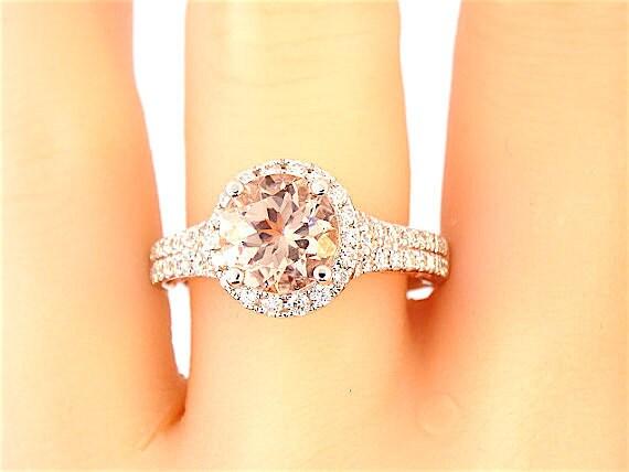 14K White and Rose Gold Halo Round Morganite Diamond Engagement Ring Wedding Ring Promise Ring Anniversary Ring Halo Ring Art Deco Ring