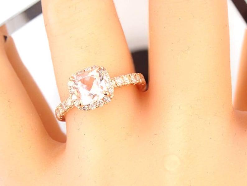 14K Rose Gold Diamond and Natural Morganite Halo Engagement image 0