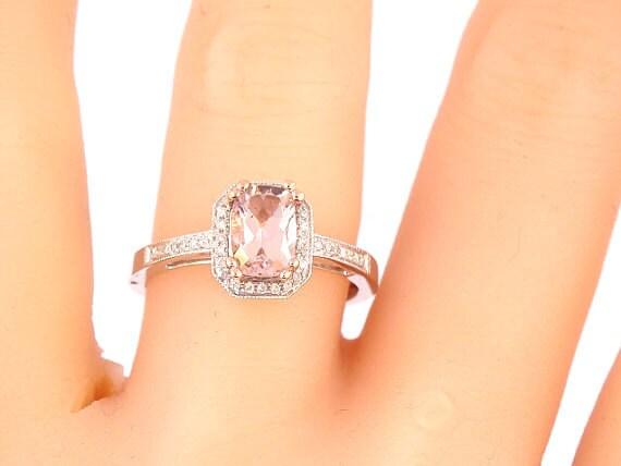 14K White Gold Emerald Cut Morganite Diamond Halo Engagement Ring Wedding Ring Anniversary Ring Bridal Ring Art Deco Ring Rose Gold Yellow