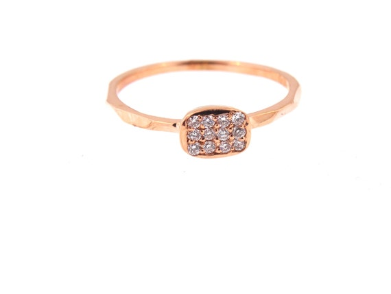 14K Rose Gold Pave Diamond Wedding Band Anniversary Band Fashion Band Cushion Shape Right Hand Ring Antique Art Deco Yellow Gold White Gold