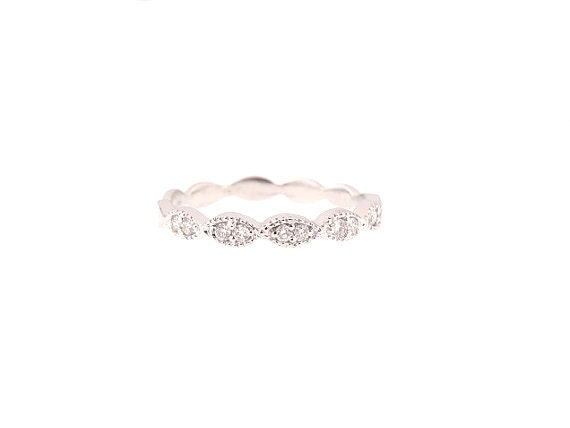 14K White Gold Art Deco Antique Style Half Eternity Band Anniversary Band Wedding Band Stackable Band Platinum Rose Gold Yellow Gold 18K SJV