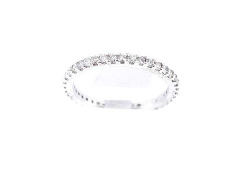 14K White Gold Eternity Diamond Band 0.80 Carats Wedding Band image 0