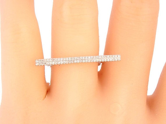 14K White Gold Diamond Bar Band Fashion Jewelry Stackable Ring Anniversary Ring Right Hand Ring Knuckle Ring Yellow Gold Rose Gold