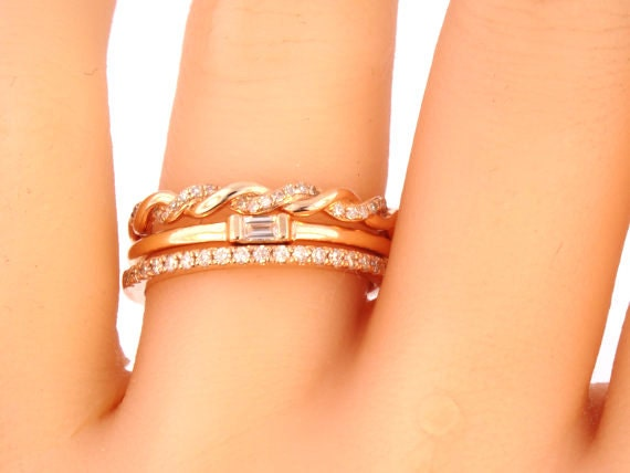 3 Rings 14K Rose Gold Baguette Diamond Bands Anniversary Bands Antique Bands Art Deco Bands Stackable Bands Infinity White Gold Yellow Gold