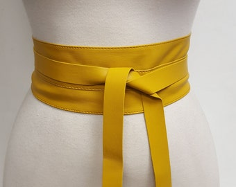 Gold Leather Obi Belt Women/'s Wrap Belt Gold Leather Obi Belt Vegan Leather Obi Belt