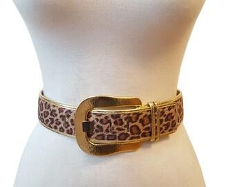 51d77f724b5c High Waist Leopard Print Belt with Gold Buckle