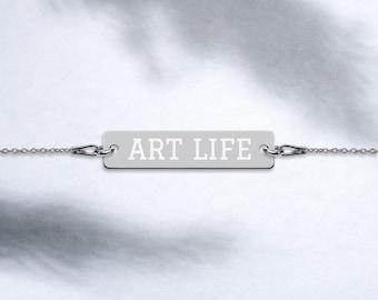 ART LIFE Engraved Silver Bar Chain Bracelet