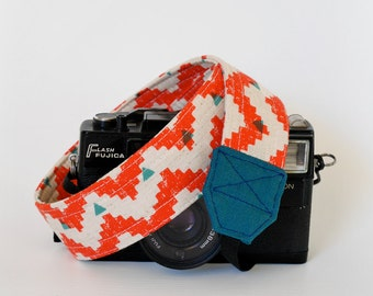 DSLR camera strap, tribal print, SLR camera strap for canon and nikon, linen camera strap, gift for her
