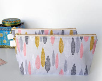 Cute cosmetic pouch,  organic cotton bridesmaid gifts, makeup pouch, pencil case, gift for garden lover