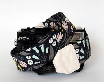 Black camera strap, SLR DSLR camera strap, photographer gift, cute camera strap, canon, fuji, organic cotton