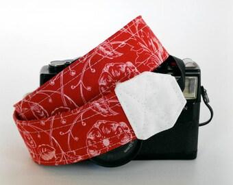 Floral camera strap, red camera strap, DSLR camera strap , gift for mom, Canon, Nikon