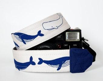 Gift for him, white camera strap, SLR DSLR camera strap, photographer gift, hampback whale, canon camera strap