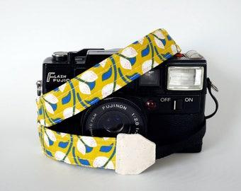 Thin camera strap yellow, 1'' wide, Mirrorless camera strap, DSLR camera strap, ideal for light weight camera, organic cotton