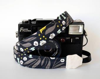 Black thin camera strap, thin camera strap, 1'' wide, Mirrorless camera strap, DSLR camera strap, ideal for light weight camera