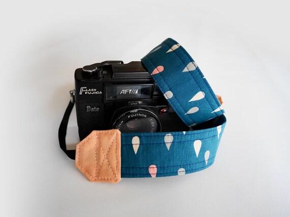 Bleu courroie, sangle de goutte de pluie, sangle appareil photo SLR DSLR, cadeau pour elle, courroie de l'appareil en forme de larme, Canon, Nikon