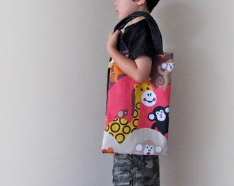 Childs tote bag, boys tote bag, boys library bag, kids book bag, back to school animal print