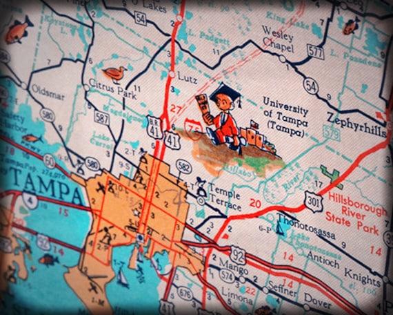 University of Tampa UT college retro map print funky vintage | Etsy