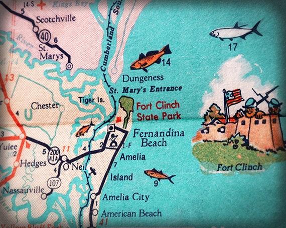 Map Of Florida East Coast.Fernandina Beach Amelia Island Beach Retro Beach Map Print Etsy