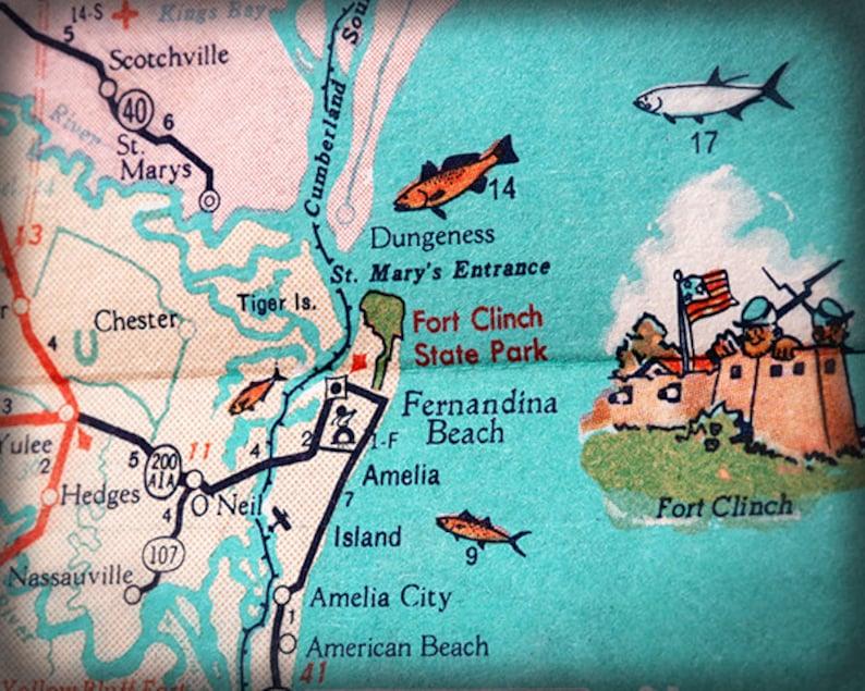 Fernandina Beach Amelia Island beach retro beach map print funky vintage  turquoise photo of Florida East Coast