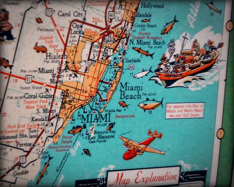 miami beach key biscayne retro beach map print funky