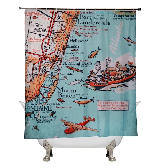Florida East Coast Beaches Map.Retro Beach Map Shower Curtain Fort Lauderdale Hollywood Miami Etsy