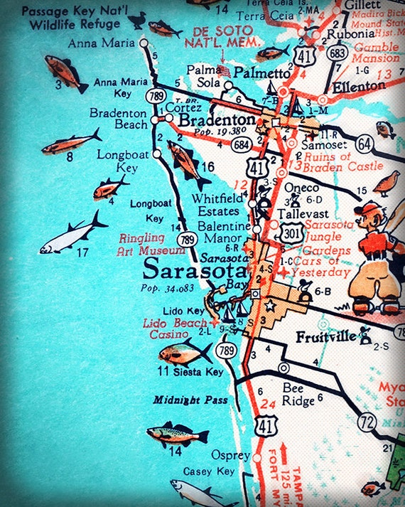 Sarasota Bradenton retro beach map print 11x14 funky vintage turquoise  photo of Florida West Coast Road trip housewarming gift