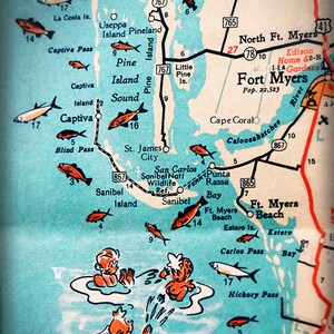 Map Of Florida West Coast.Turquoise Photo Etsy