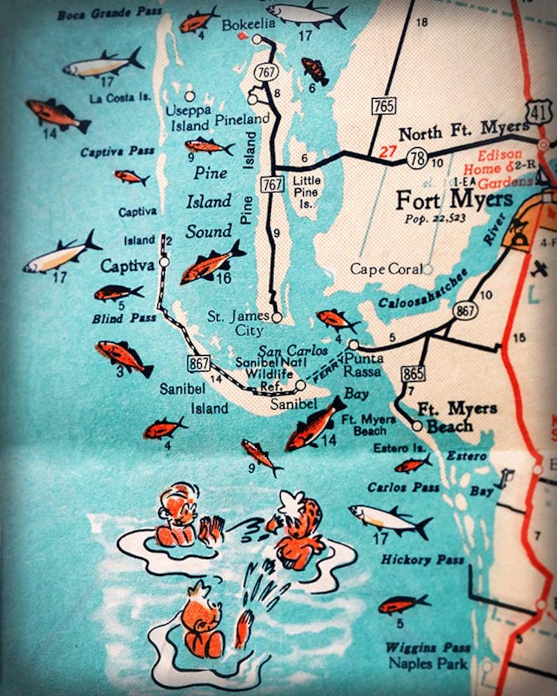 Fort Myers Beach Zip Code Map.Sanibel Island Fort Myers Beach Retro Beach Map Print Funky Etsy
