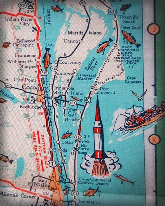 Cocoa Beach Cape Canaveral Merritt Island Retro Beach Map Etsy