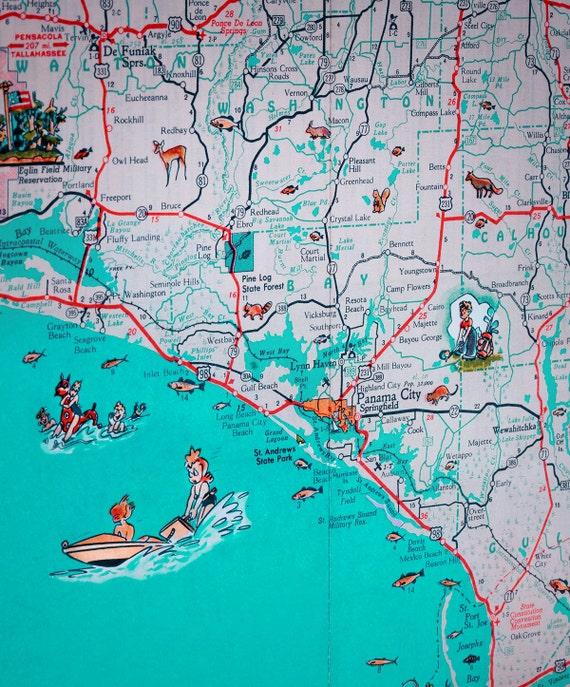 Pensacola Beach Florida Map.Florida Panhandle Pensacola Beach Navarre Panama City Retro Etsy