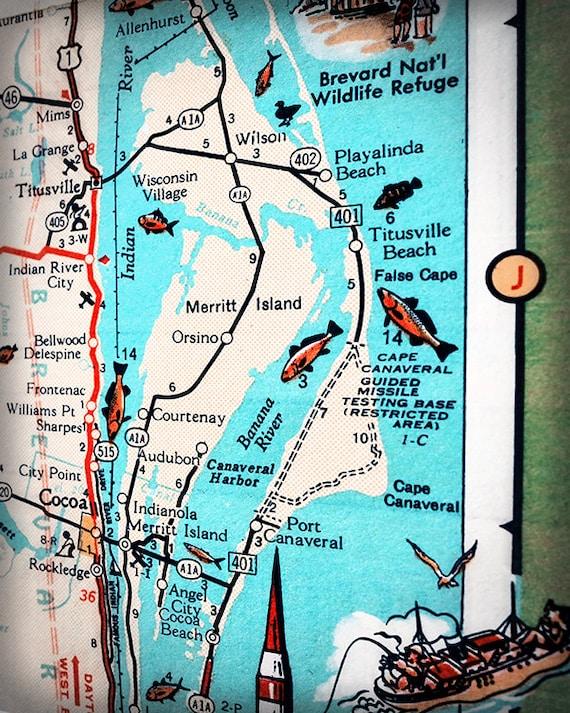 Map Of Merritt Island Florida.Merritt Island Cape Canaveral Titusville Retro Beach Map Print Etsy