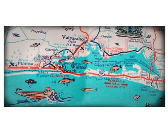 Ft. Walton Beach Destin retro beach map panoramic print funky vintage turquoise photo of Florida Panhandle area