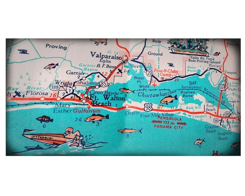 Ft  Walton Beach Destin retro beach map panoramic print funky vintage  turquoise photo of Florida Panhandle area