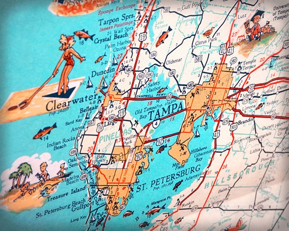 Map Of Florida Clearwater.Tampa Clearwater St Petersburg Beach Retro Beach Map Print Etsy