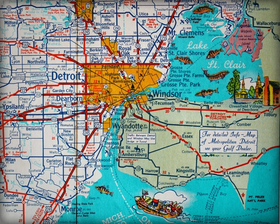 Map Of Windsor Ontario Canada Detroit Michigan Windsor Ontario Canada retro map print funky | Etsy
