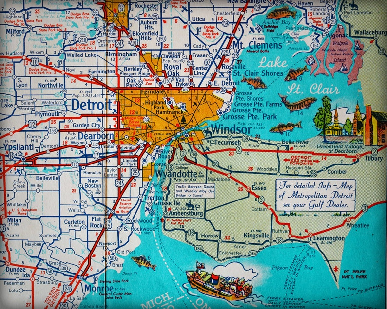 Detroit Michigan Windsor Ontario Canada retro map print funky | Etsy
